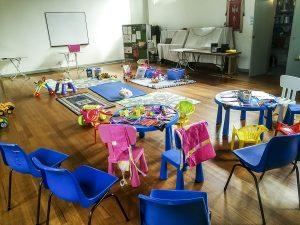 Setup for St. Luke's play group on Mondays